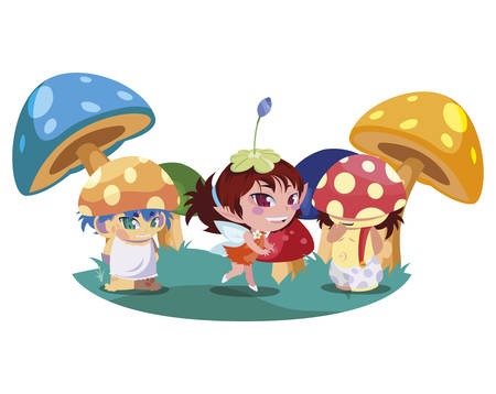 fungus elfs and fairy in the garden vector illustration design