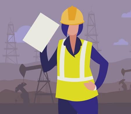 oil industry female worker character vector illustration design