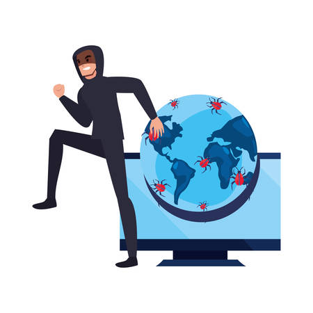 hacker computer world virus message cybersecurity data protection vector illustration Çizim