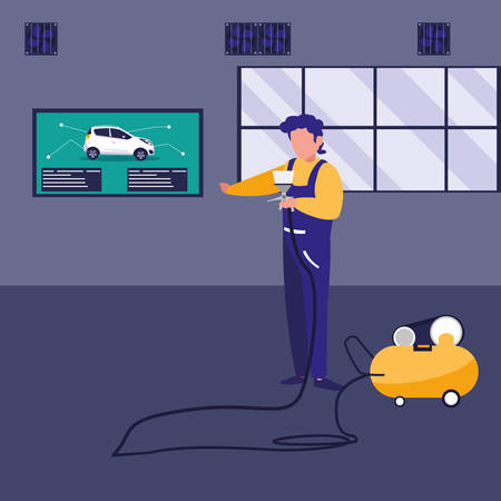 mechanic worker with compressor air vector illustration design