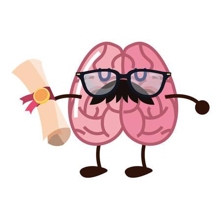 brain cartoon education diploma school vector illustration