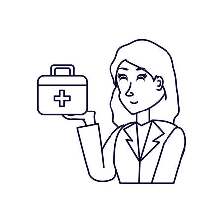doctor female professional with first aid kit vector illustration design Standard-Bild - 131346698