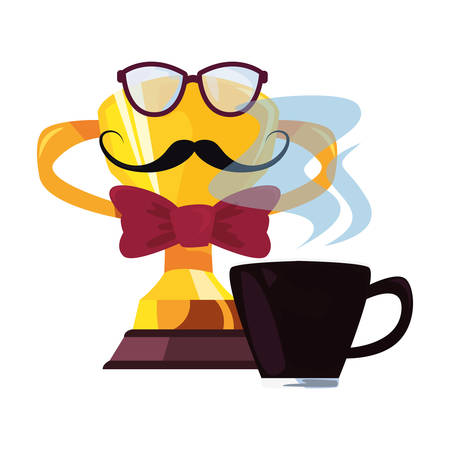 coffee cup eyeglasses trophy mustache happy fathers day vector illustration