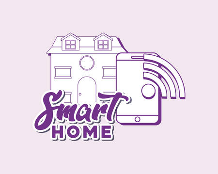 smart home design with house and smartphone over pink background, colorful line design. vector illustration