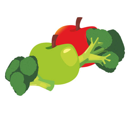 broccoli red and green apple fresh food vector illustration