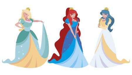beautiful princesses of tales characters vector illustration design Фото со стока - 131346995