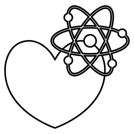 heart cardio with atom molecule vector illustration design