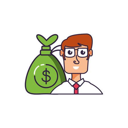 businessman elegant with money bag vector illustration design