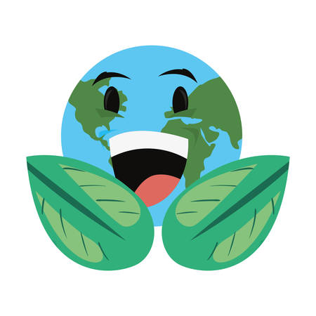 world cartoon leaves foliage earth day vector illustration Ilustracja
