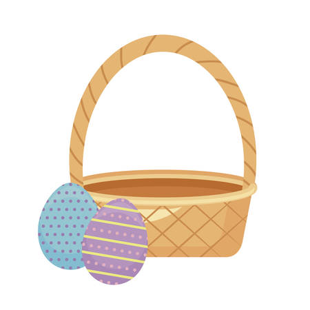 egg of easter with basket wicker vector illustration design