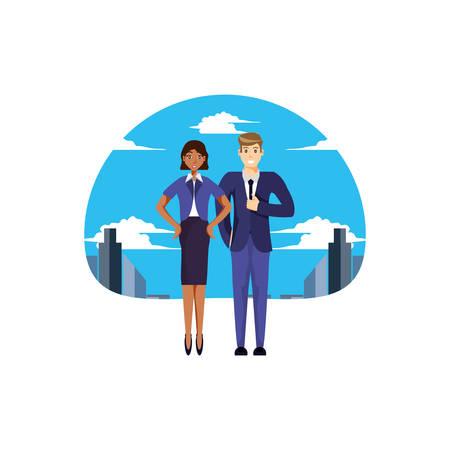 business couple elegant with cityscape vector illustration design Stock Illustratie