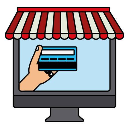 desktop computer with credit card vector illustration design