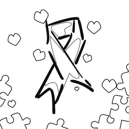 ribbon puzzles hearts autism awareness day vector illustration 일러스트