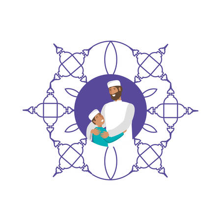 islamic man with son in mandala vector illustration design