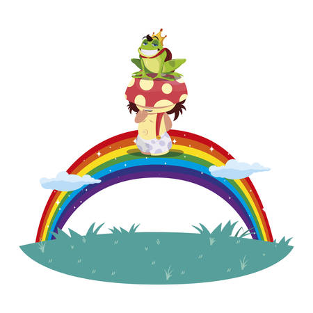 toad prince and fungu elf with rainbow vector illustration design Иллюстрация