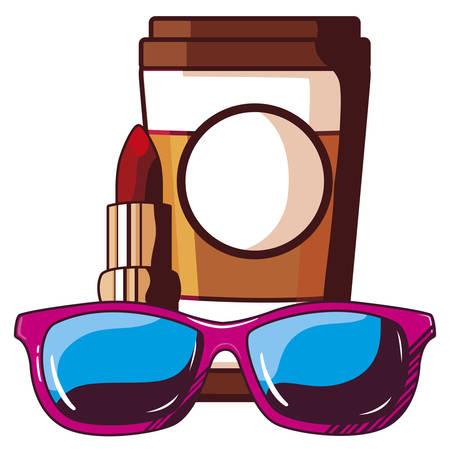 coffee in container plastic with sunglasses and lipstick pop art vector illustration Stock Illustratie