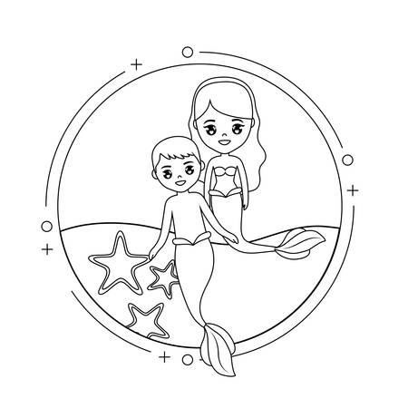 cute couple mermaids with sea in frame circular vector illustration design