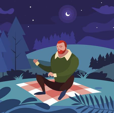 man seated in the field picnic day vector illustration design Ilustração