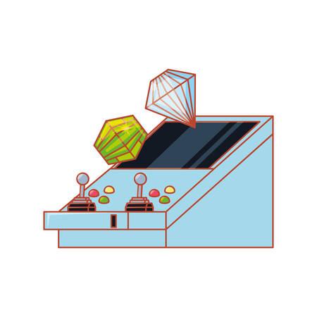 retro console video game machine with diamond prize vector illustration design