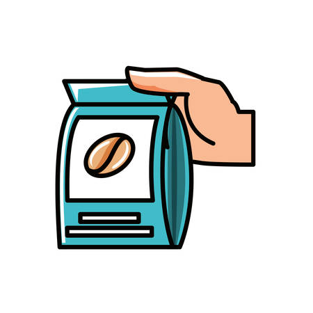 hand with bag coffee isolated icon vector illustration design