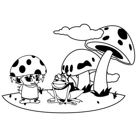 toad prince and fungu elf in garden vector illustration design Фото со стока - 131334961
