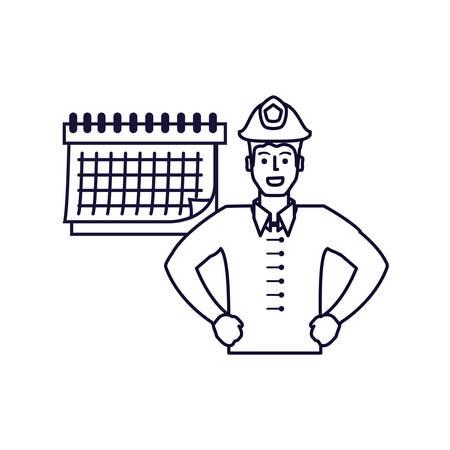firefighter professional with calendar reminder vector illustration design