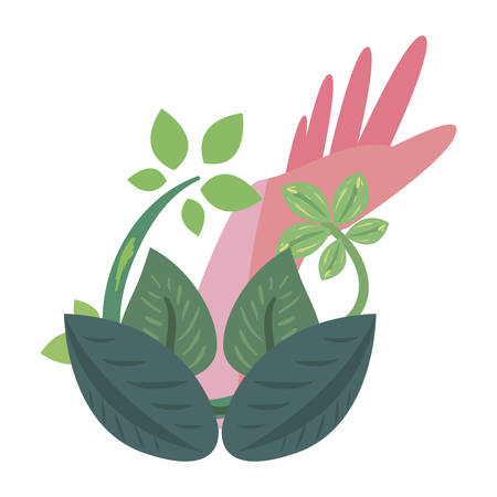 hand branch natural leaves earth day vector illustration