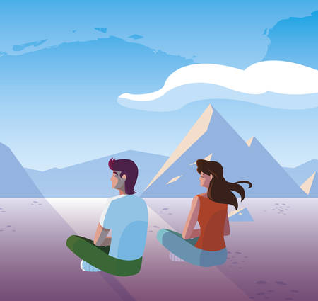couple contemplating horizon in snowscape scene vector illustration design Stok Fotoğraf - 131347619