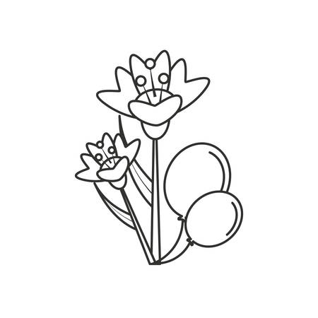 natural flowers with balloons helium vector illustration design