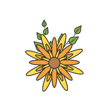 beautiful flower natural with leafs vector illustration design Ilustracja