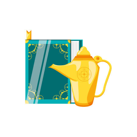 koran book with teapot ramadan kareem vector illustration design Çizim