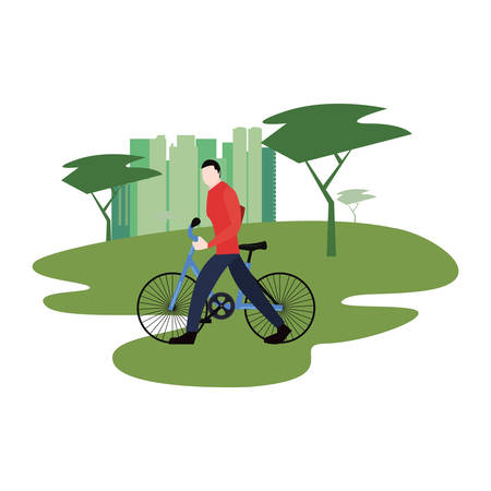 young man riding bicycle activity vector illustration