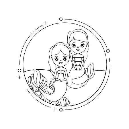 cute mermaids with sea in frame circular vector illustration design  イラスト・ベクター素材