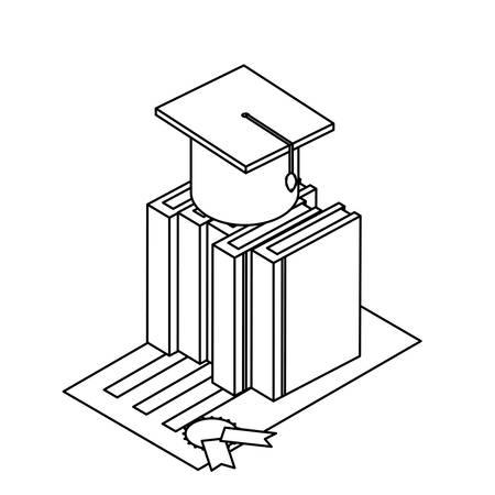 text books with graduation hat vector illustration design Illusztráció