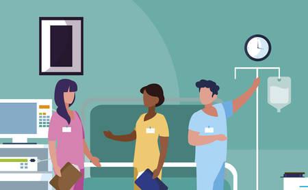 interracial group medicine workers in operating theater vector illustration design Illusztráció