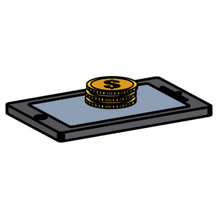 smartphone device with coins money vector illustration design