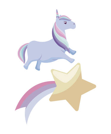 cute unicorn animal with shooting star vector illustration design Ilustrace
