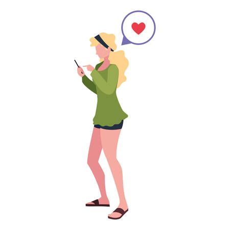 young woman using smartphone social media vector illustration Çizim