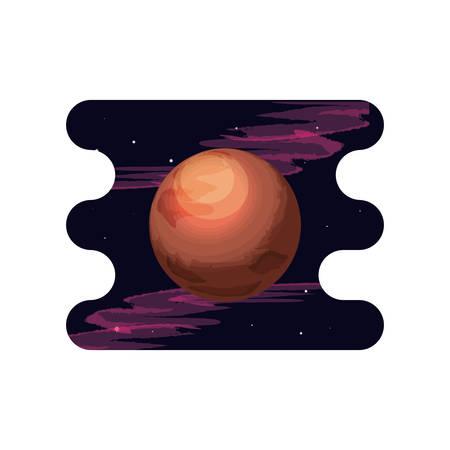 mars planet scene space vector illustration design