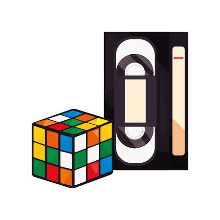 videotape beta cube rubik retro 80s style vector illustration