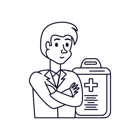 doctor professional and clipboard with document of hospital vector illustration design
