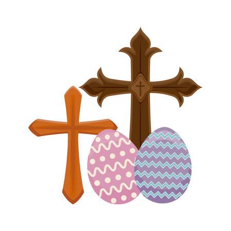 crosses catholics with eggs of easter r vector illustration design Ilustração
