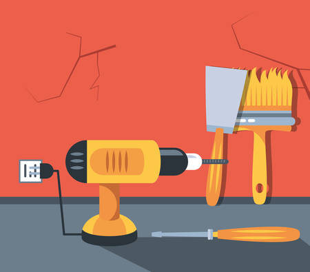 drill perforator with set tools vector illustration design