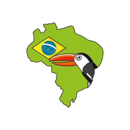 toucan bird animal with map of brazil vector illustration design