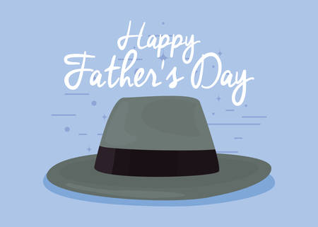 greeting card hat happy fathers day vector illustration