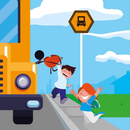happy little school kids in the bus stop vector illustration design  イラスト・ベクター素材