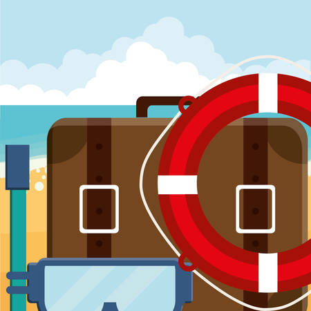 suitcase travel with snorkel and float vector illustration design