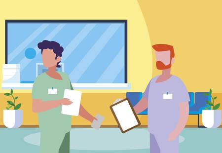 male medicine workers in clinic reception vector illustration design