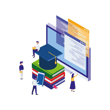 pile text books with desktop and minipeople vector illustration design