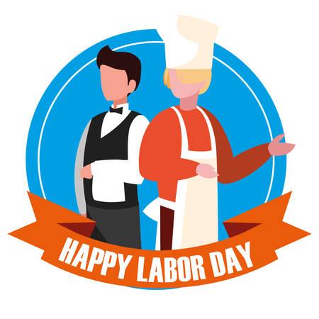 labour day celebration seal with professionals chef vector illustration design Çizim